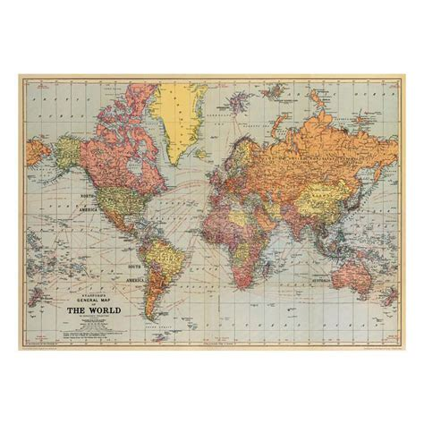 Stans vintage world map poster hanging print six things