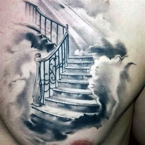50 cloud chest tattoos for men blue sky ink design ideas