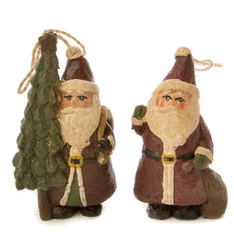 paper clay ornaments primitive paper clay santa ornament set ornaments and winter