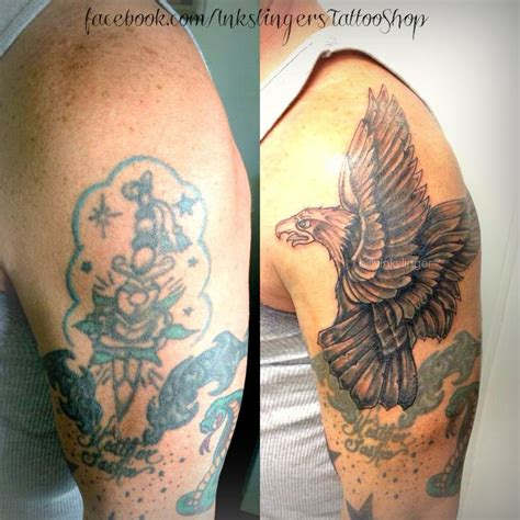 eagle tattoo cover up ideas eagle cover up tattoo billyinkslinger tattoos pinterest