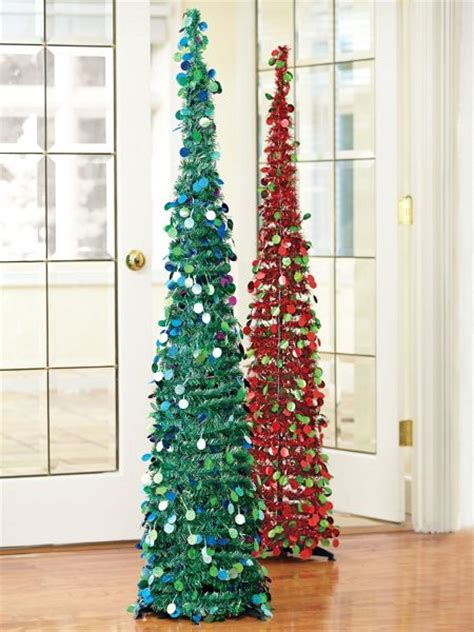 5ft slim tinsel pop up tree 15 quot round glittery tree