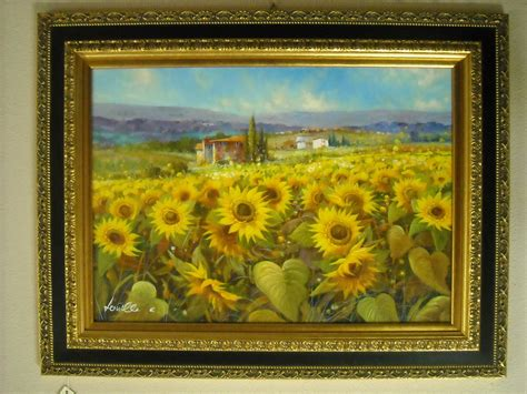cornici per dipinti dipinto olio su tela co di girasoli con cornice in