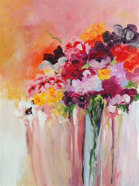 acrylic painting flowers original acrylic painting abstract flowers by