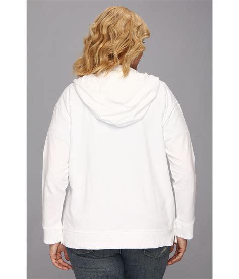 Hoodie Zipper Dkny dkny plus size geometric lace zip front hoodie in white lyst