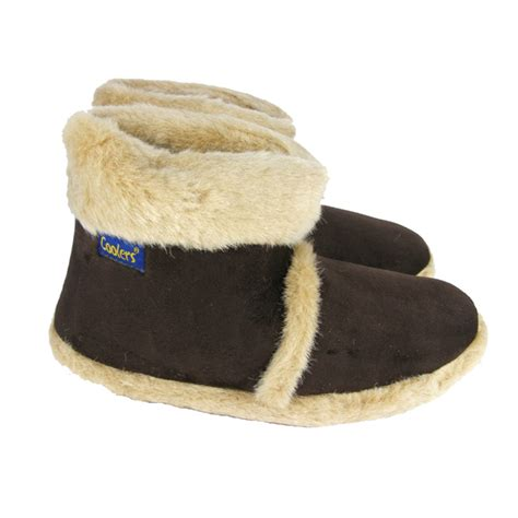 mens fur lined slipper boots new mens brown coolers faux fur lined comfy warm winter
