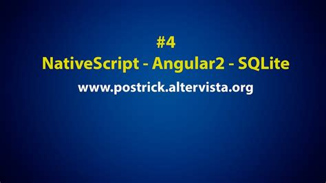 tutorial nativescript sqlite in a nativescript app with angular 2 tutorial 4