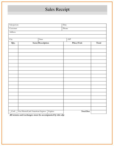 Blank Purchase Receipt Template by Blank Receipt Template Mughals