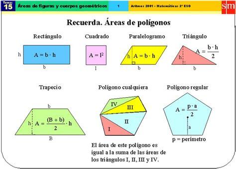 figuras geometricas formulas de area y perimetro formulas 225 reas y per 237 metros de figuras geometricas
