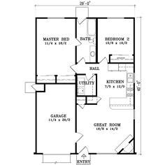 Cabin Floor Plans Under 1000 Square Feet Traditional Style House Plans 921 Square Foot Home 1