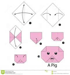 step by step how to make origami pig stock