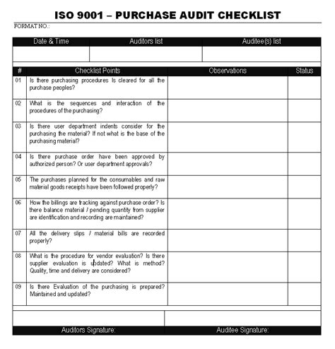 audit report template iso 9001 quality management system audit checklist iso