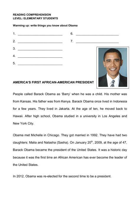 presidential biography reading list barack obama reading comprehension for elementary