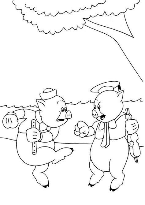 Coloriage Les trois petits cochons 11