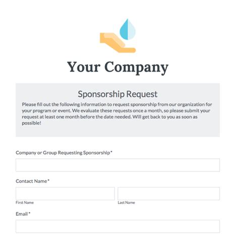 sponsorship registration form template sponsorship form print a sponsorship form running