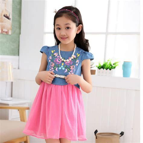 Dress Korea Pink 3 2015 korea summer blue pink princess dress 3 4 5 6 7 8 9 10 11 12 13 years dress