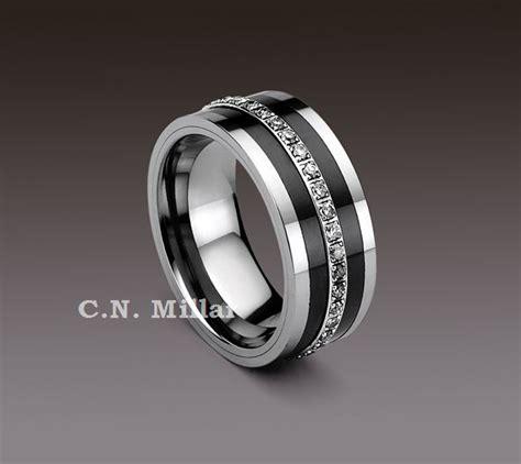 Tungsten Carbide Rings With Black Diamonds  Ee  Eternity Ee