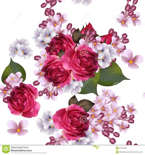 wallpaper design roses floral vector seamless wallpaper with lilac flowers and