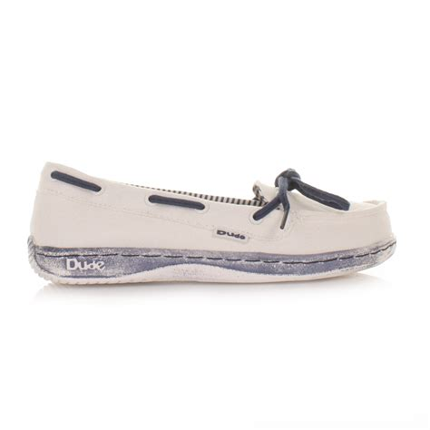 deck boat shoes womens dude moka navy blue white loafers