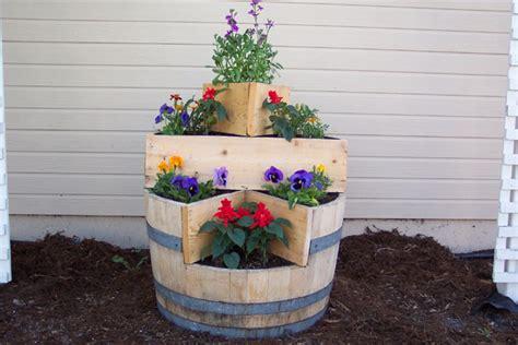 wine barrel planter ideas unique garden planters whiskey barrels barrels and trains