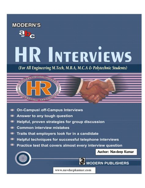 Hr Subject Related Questions For Mba Freshers by Hr Interviews For Freshers By Navdeep Kumar