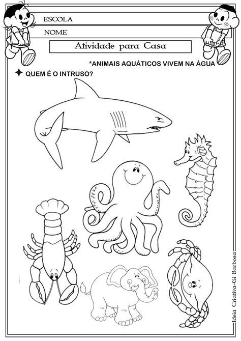 animais aquaticos  colorir