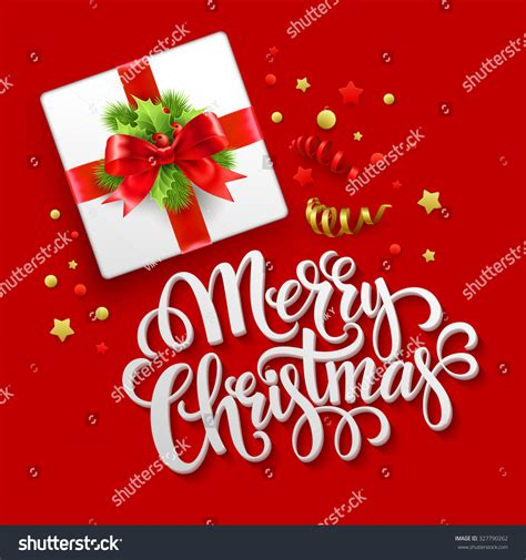merry christmas greeting card christmas gift stock vector