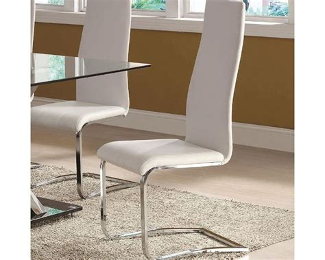Contemporary White Dining Chairs Coaster Modern White Faux Leather Dining Chair Co 100515wht Set Of 4