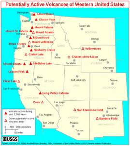 potentially active volcanoes in the western united states map