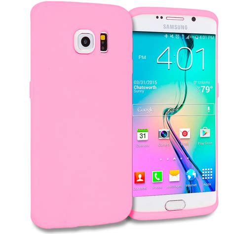 Samsung S6 Edge Soft Flower Rubber Casing Elegan light pink silicone skin cover for samsung galaxy s6 edge casedistrict