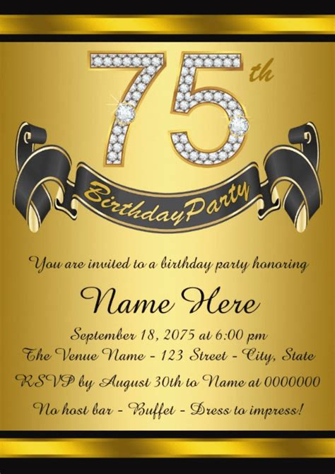 75th birthday invitation templates 75th birthday invitations 50 gorgeous 75th invites