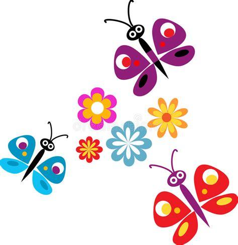 clipart farfalle fiori e farfalle di primavera illustrazione di stock
