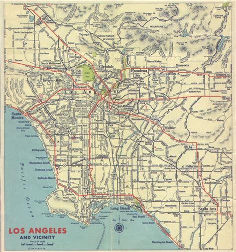 map of los angeles with freeways 1939 california and cities southern california regional