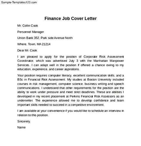 job cover letter sle finance leading professional