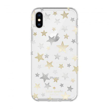 kate spade  york protective hardshell case  cover  cell phone silver gold stars