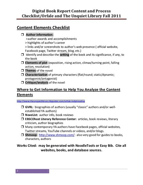 digital book report orfale digital book report checklist august 2011