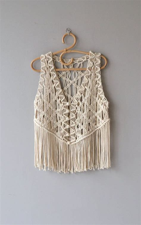 Macrame And Crochet - spirit change vest vintage 1970s macrame vest fringed