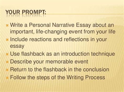 Memorable Event Essay by Personal Narrative Powerpoint