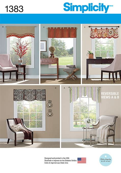 Valance Sewing Patterns Simplicity 1383 Valances For 36 Quot Quot To 40 Quot Quot Wide Windows