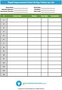 follow up template excel rapid improvement event 30 day follow up list