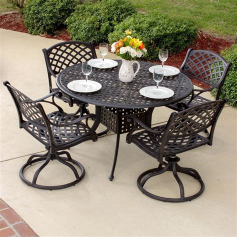 Heritage 5 Piece Cast Aluminum Patio Dining Set With
