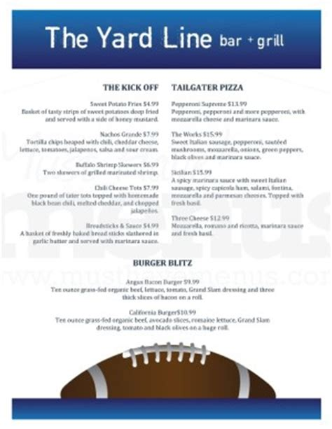 football menu templates football bar food menu template sports bar menus