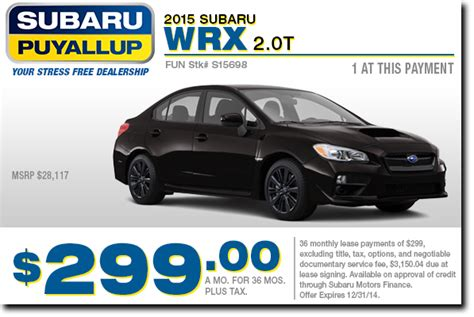 new 2015 subaru wrx special sales lease offers