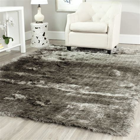 Plum Runner Rug Silken Silver Shag Rug Contemporary Rugs By