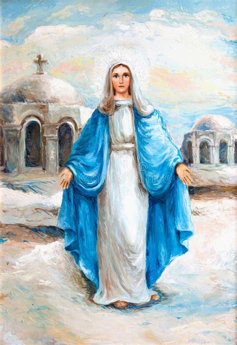 imagenes de la virgen maria virgin mary oil painting stock illustration illustration