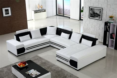 White Leather Living Room Chair - large u shaped sofa white leather living room sofa