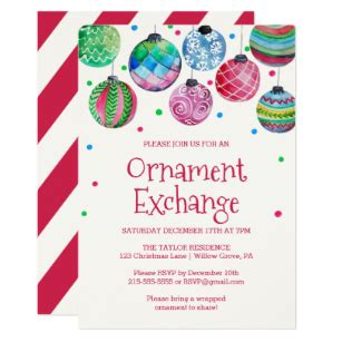 christmas ornament poem exchange game invitations zazzle