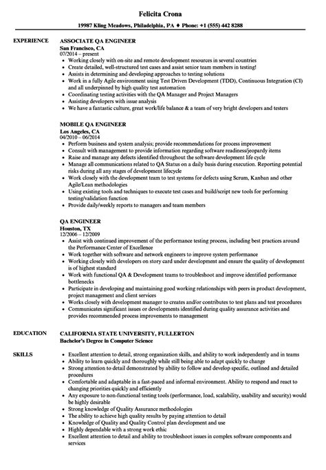 Qa Engineer Resume