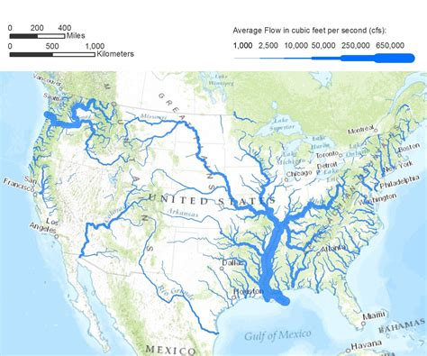 flow rates  map   united states illustrating flow rates  major bodies  water