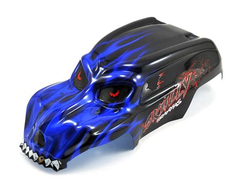 traxxas skully pre painted body wdecals blue trax
