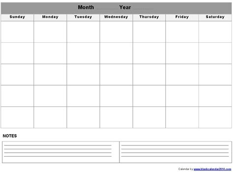 calendar with notes template blank month calendar template printable calendar templates
